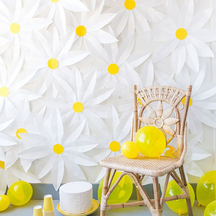 """<p>Go all out with a cheery white-and-yellow color scheme. This daisy backdrop is made out of butcher paper.</p><p><strong data-redactor-tag=""""strong"""" data-verified=""""redactor"""">Get the tutorial at<a href=""""http://thehousethatlarsbuilt.com/2016/06/diy-paper-daisy-backrop.html/"""" target=""""_blank"""" data-tracking-id=""""recirc-text-link"""">The House That Lars Built</a>.</strong><span class=""""redactor-invisible-space"""" data-verified=""""redactor"""" data-redactor-tag=""""span"""" data-redactor-class=""""redactor-invisible-space""""><strong data-redactor-tag=""""strong"""" data-verified=""""redactor""""><a href=""""http://thehousethatlarsbuilt.com/2016/06/diy-paper-daisy-backrop.html/""""></a></strong><a href=""""http://thehousethatlarsbuilt.com/2016/06/diy-paper-daisy-backrop.html/""""></a></span></p><p><span class=""""redactor-invisible-space"""" data-verified=""""redactor"""" data-redactor-tag=""""span"""" data-redactor-class=""""redactor-invisible-space""""><strong data-redactor-tag=""""strong"""" data-verified=""""redactor"""">RELATED:</strong></span><a href=""""http://www.redbookmag.com/life/mom-kids/a51327/prince-george-funny-pictures-sassy-moments/"""" target=""""_blank"""" data-tracking-id=""""recirc-text-link""""><strong data-redactor-tag=""""strong"""" data-verified=""""redactor"""">33 of Prince George's Sassiest Moments to Celebrate His Fourth Birthday</strong></a></p>"""