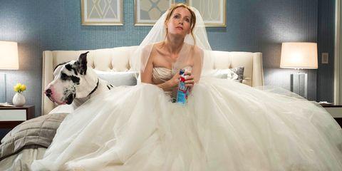 Wedding dress, Gown, Dress, Bride, Bridal clothing, Photograph, Clothing, Bridal party dress, Bridal accessory, Room,