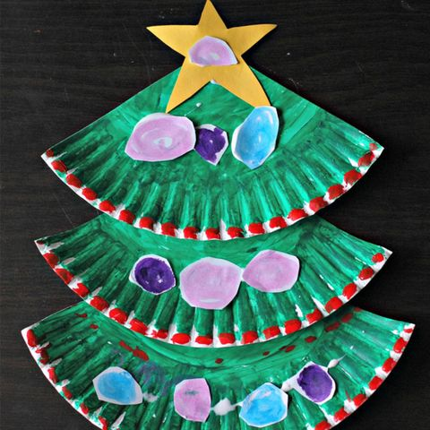 all you need is paper scissors paint and glue to paper plate christmas tree - Stuff To Get For Christmas