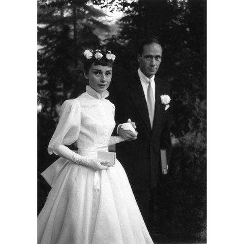 """<p><em data-redactor-tag=""""em"""">Breakfast at Tiffany's </em>actress Audrey Hepburn wed actor Mel Ferrer in a <a href=""""http://www.instyle.com/celebrity/celebrity-weddings/new-details-emerge-audrey-hepburns-secret-wedding"""" target=""""_blank"""">secret wedding</a> on September 25, 1954 in Switzerland. They had one son, Sean Hepburn Ferrer, and divorced in 1968 after more than a decade of marriage. </p>"""