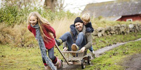 People in nature, Photograph, People, Wheelbarrow, Product, Tree, Grass, Fun, Sitting, Cart,
