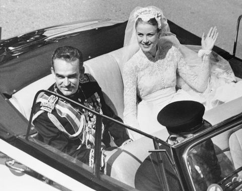 """<p>Grace Kelly <a href=""""https://www.vogue.com/article/weddings-princess-grace-kelly-prince-rainier-monaco-1956"""" target=""""_blank"""">married</a> Prince Rainier III of Monaco in a widely publicized two-day event that took place on April 18 aboard the SS Constitution, with a civil ceremony taking place the day after. The <a href=""""http://www.delish.com/food/a55294/kate-middleton-pregnant-duke-and-duchess-of-cambridge-expecting-their-third-child/"""" target=""""_blank"""" data-tracking-id=""""recirc-text-link"""">royal couple</a> had three children and remained married until Kelly's death in 1982. </p>"""