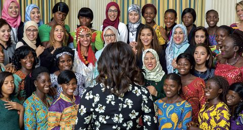 """<p>Michelle Obama welcomes girls from Morocco and Liberia in the State Dining Room of the White House before a screening of <em data-redactor-tag=""""em""""><a href=""""http://www.cnn.com/shows/cnn-films-we-will-rise"""" target=""""_blank"""" data-external=""""true"""">We Will Rise: Michelle Obama's Mission to Educate Girls Around the World</a>. </em>The CNN film documented the First Lady, Meryl Streep, Freida Pinto and Isha Sesay as they journeyed through Morocco and Liberia, where they met young women who changed their own lives despite adversity.</p>"""