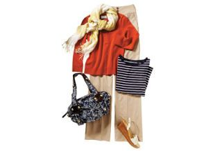 striped tee with red ann taylor loft cardigan, express pants, spiegel shoes, gap scarf, avon bag