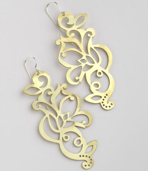 brass tattoo inspired earrings
