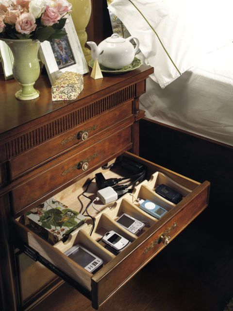 night stand with dividers in drawer