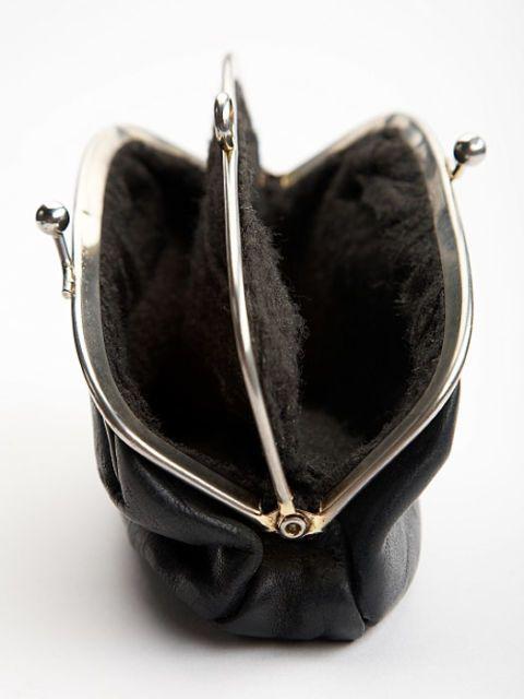 empty black change purse