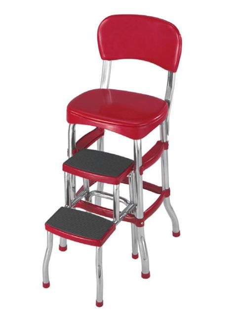 red chair with step stool