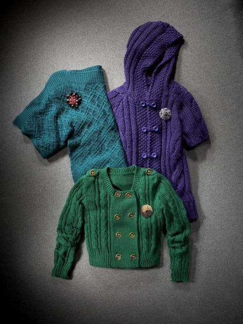 teal purple and green cable knit sweaters