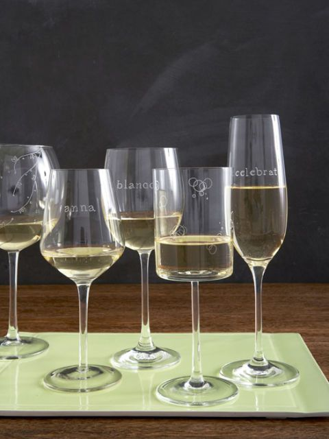 glassware engraved with names and words