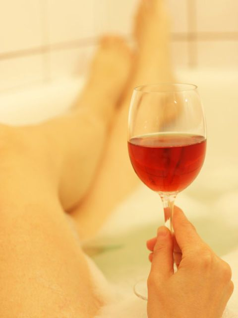 relaxing with red wine