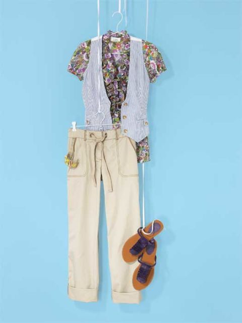 floral shirt vest and khaki pants with sandals