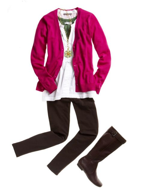 pink cardigan with white top brown pants and boots