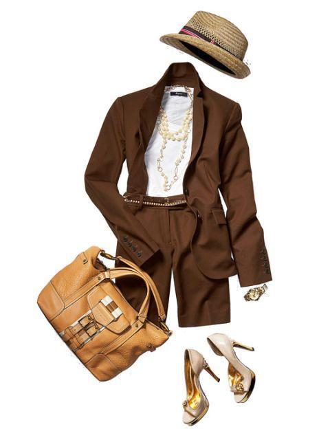 brown blazer and boyfriend tee