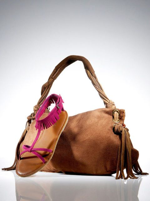 fringe bag and sandals