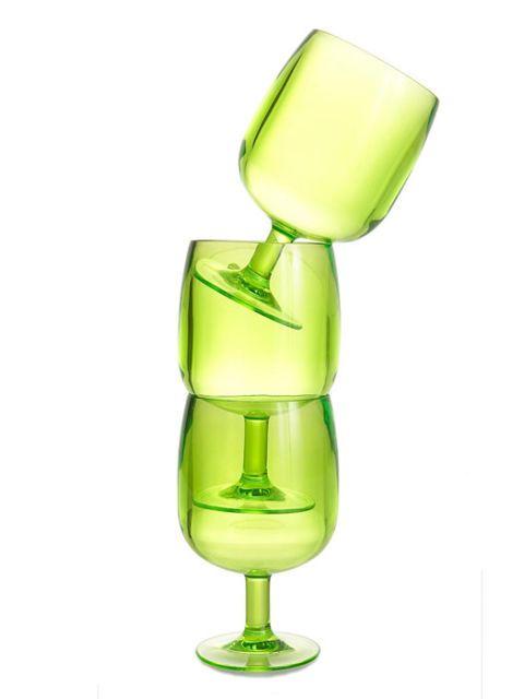 acrylic stacking wine glasses