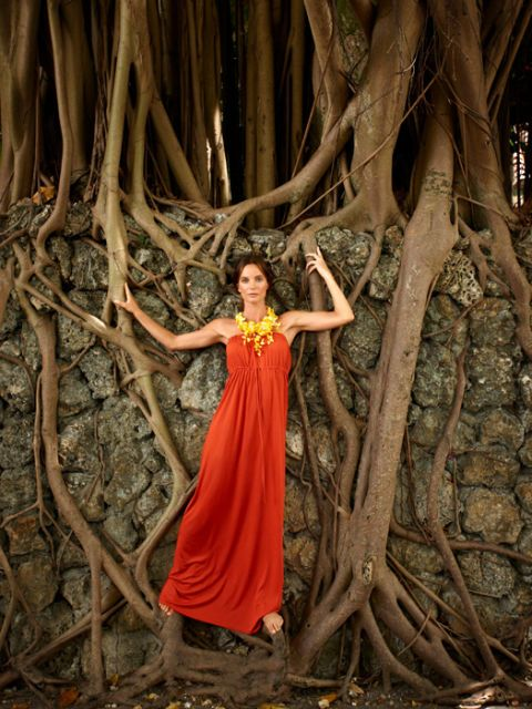 gabrielle anwar in red maxidress