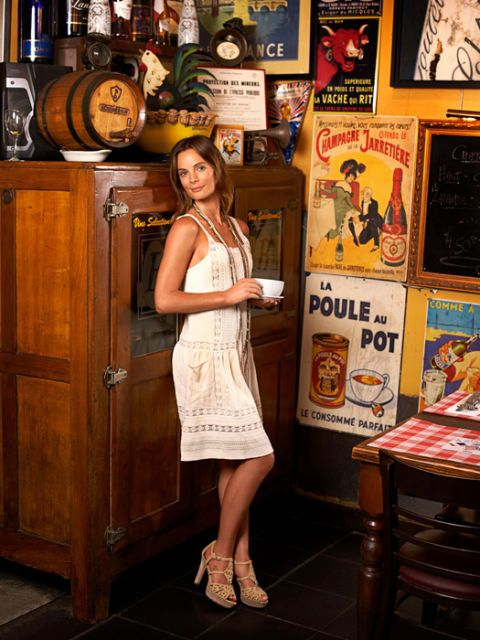gabrielle anwar in a vintage-inspired dress