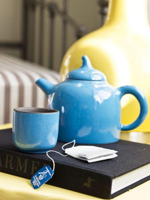blue teapot and mug