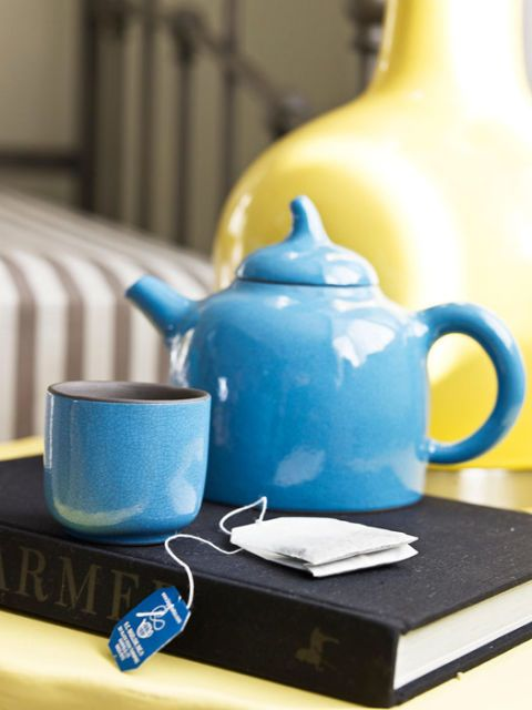 blue teapot and mug