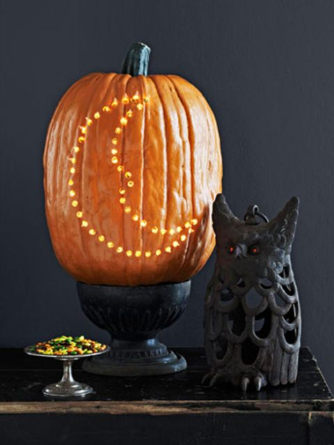 pumpkin with moon decoration