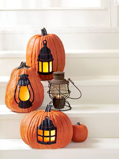 pumpkins with lantern decoration
