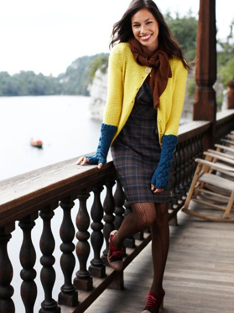 yellow cardigan and plaid dress
