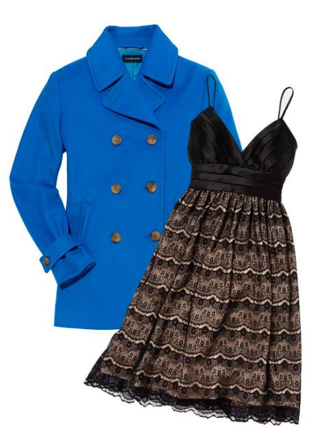 blue wool peacoat and party dress