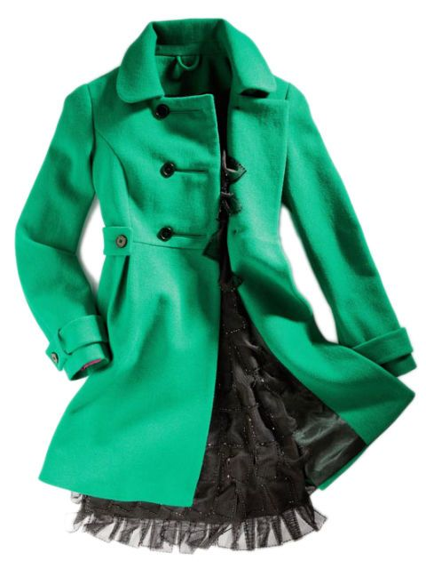 green coat and black dress