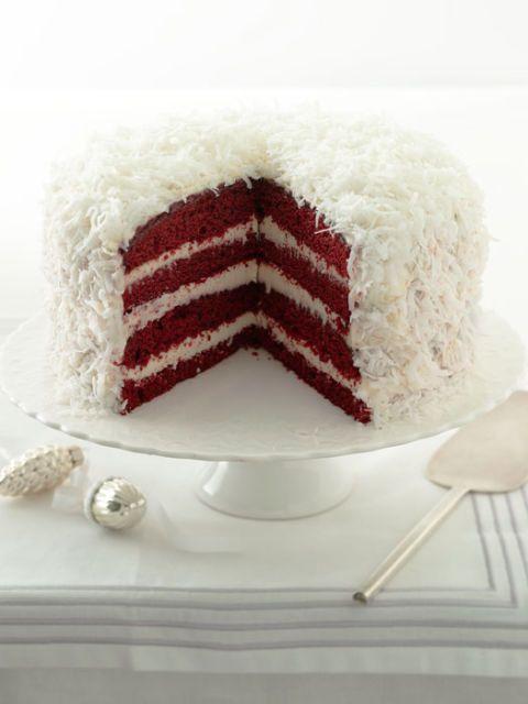 red velvet snowball cake