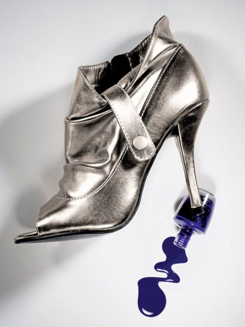 silver boots and purple nail polish