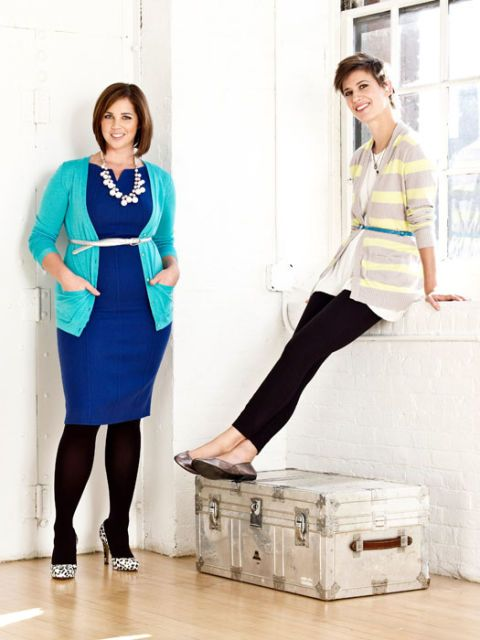 two women in belted cardigans