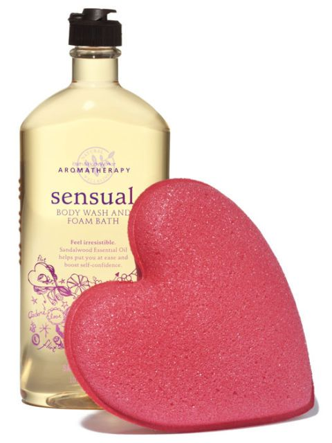 bath and body works body wash and heart sponge