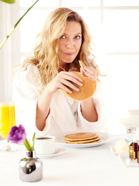 actress anna torv eating pancakes in a bathrobe