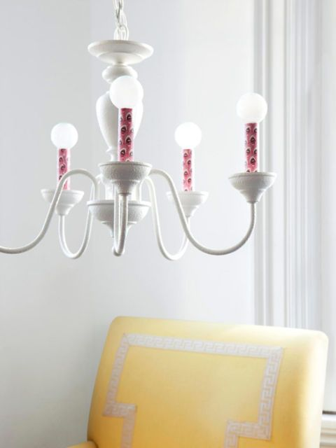 papered chandelier