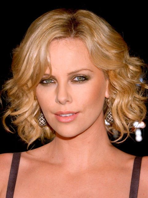 charlize theron with curls