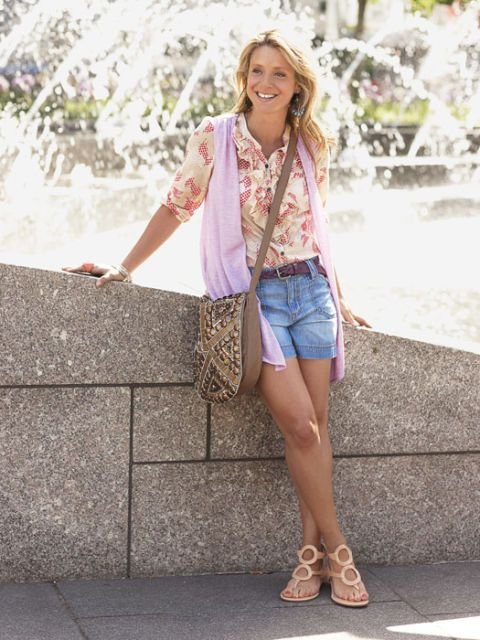 fashion director audrey slater in a sleeveless cardigan paired with shorts and vintage blouse