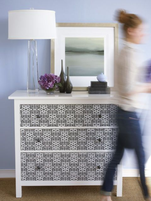 dresser with wallpapered front & Decorate an Old Dresser - How to Refinish a Dresser with Wallpaper