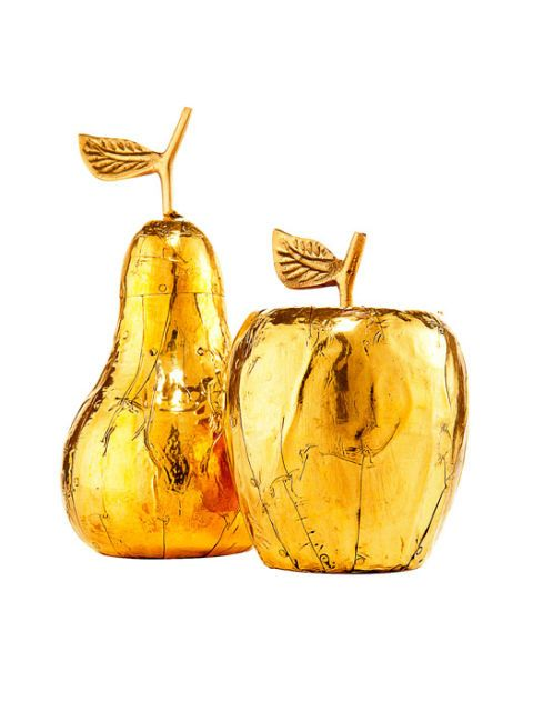 gold pear and apple
