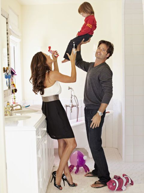 brooke burke with david charvet and son in the bathroom