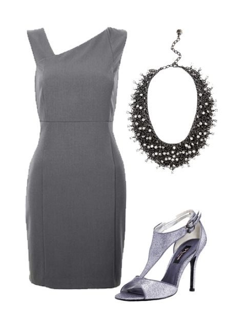 gray sheath dress and accessories