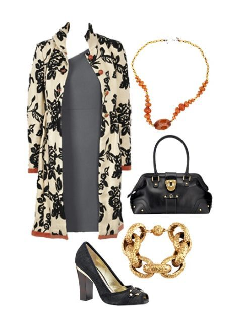 gray dress with coat and accessories