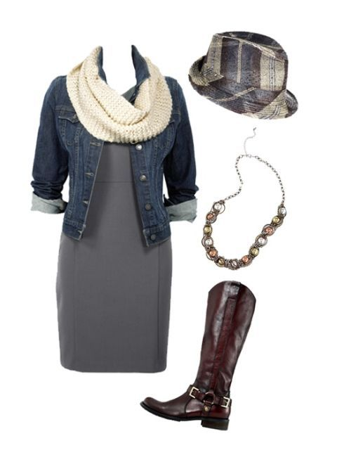 gray dress and denim jacket with accessories
