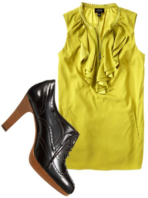 yellow blouse and heels