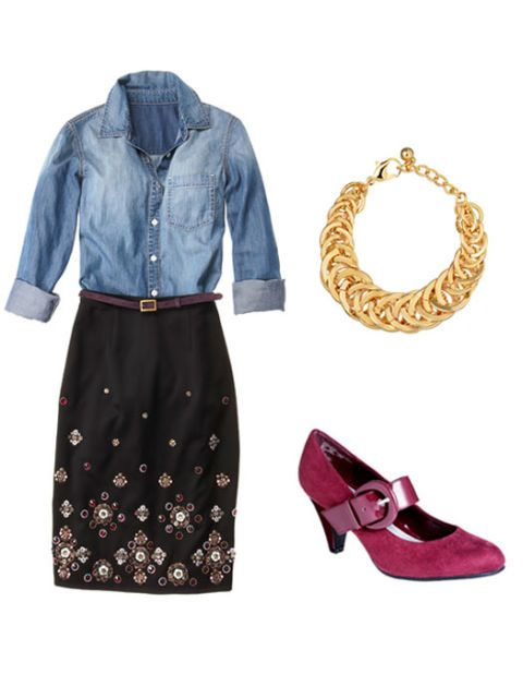 denim shirt outfit with necklace and shoes