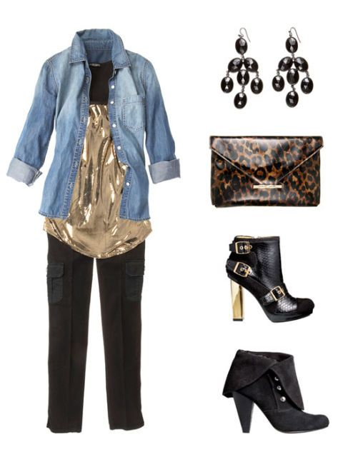 denim shirt outfit with earrings purse and shoes