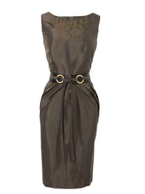 gray green sheath dress