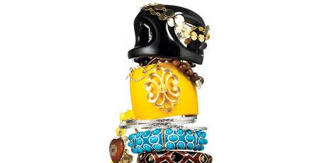 bracelets in a tall stack