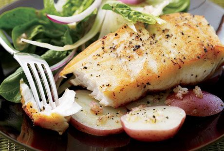 Sautéed Halibut with Shaved Fennel Salad