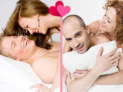 two sets of couples in bed split screen with hearts